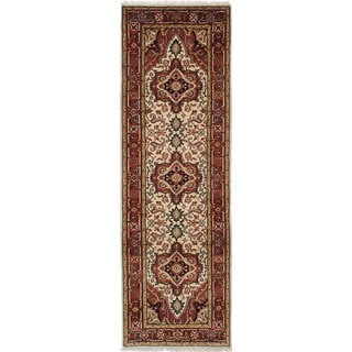 ecarpetgallery Hand-Knotted Serapi Heritage Brown, Ivory Wool Rug (2'7 x 8'1)
