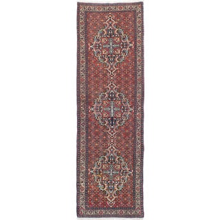 ecarpetgallery Hand-Knotted Bijar Brown Wool Rug (2'11 x 10'0)