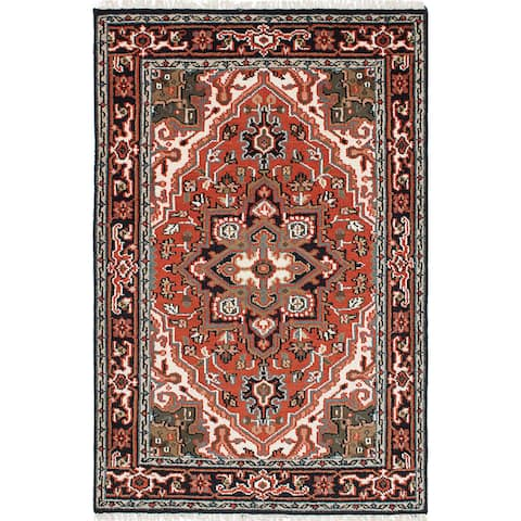 ecarpetgallery Hand-Knotted Royal Heriz Brown Wool Rug (4'0 x 6'0)