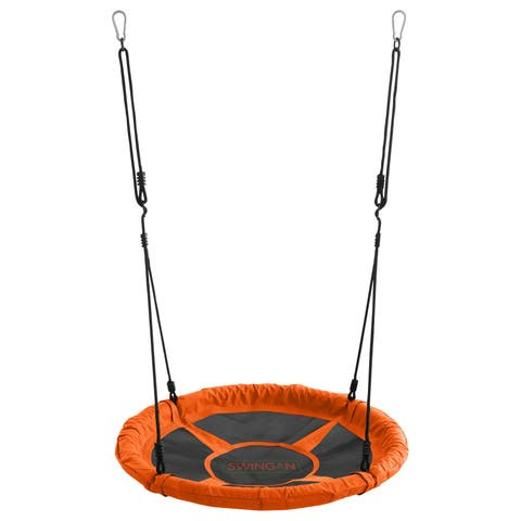 Swingan 37.5 Super Fun Nest Swing with Adjustable Ropes, and Orange Solid Fabric Seat Design