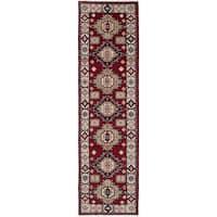 ecarpetgallery Hand-Knotted Royal Kazak Ivory, Red Wool Rug (2'8 x 9'9)