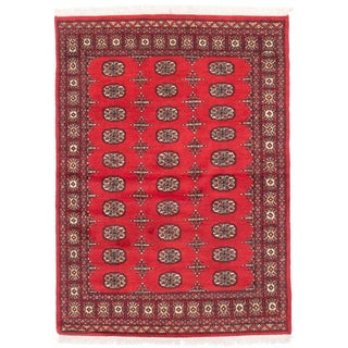 ecarpetgallery Hand-Knotted Finest Peshawar Bokhara Red Wool Rug (4'3 x 5'10)