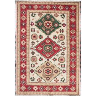 ecarpetgallery Hand-Knotted Royal Kazak Ivory Wool Rug (6'7 x 9'10)