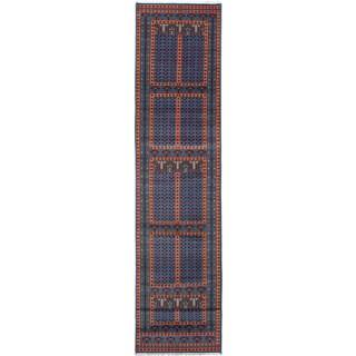 ecarpetgallery Hand-Knotted Peshawar Bokhara Blue Wool Rug (2'9 x 14'10)