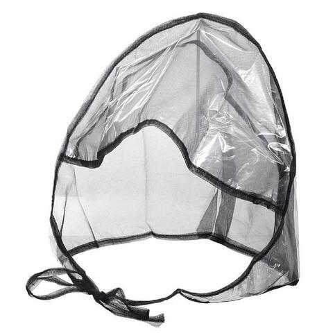 Women's Clear Plastic and Black Netting Full-cut Visor Rain Bonnet