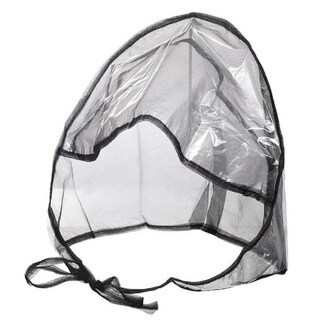 Women's Clear Plastic and Black Netting Full-cut Visor Rain Bonnet