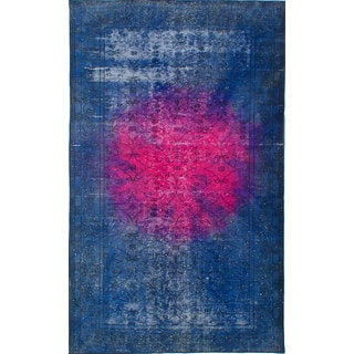 ecarpetgallery Hand-Knotted Color Transition Blue, Red Wool Rug (5'3 x 8'10)