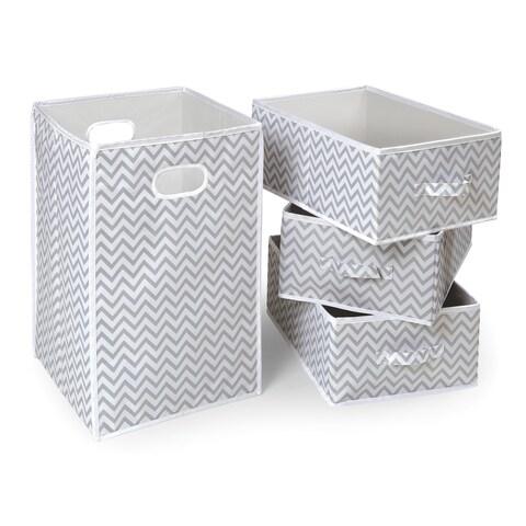 Badger Basket Folding Hamper and 3 Basket Set