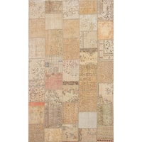 ecarpetgallery Hand-Knotted Vintage Anatolia Patch Ivory Wool Rug (6'7 x 11'2)
