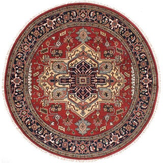 ecarpetgallery Hand-Knotted Serapi Heritage Red Wool Rug (7'11 x 7'11)