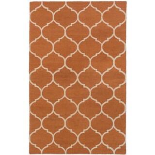 ecarpetgallery Hand Made Trellis Orange Wool Rug (5'1 x 8'0)