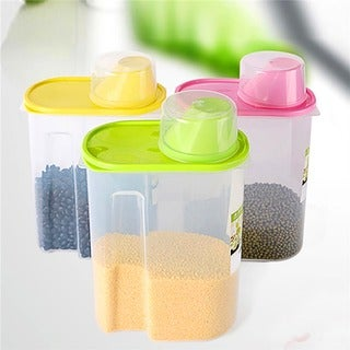 Basicwise Green/Clear BPA-free Plastic Food Saver Kitchen Food Cereal Storage Containers