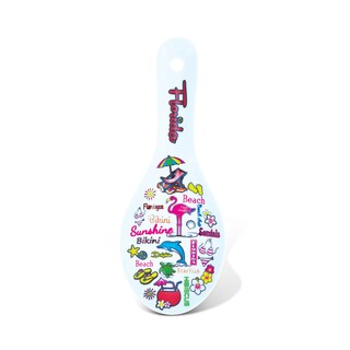 Puzzled Florida Multicolor Ceramic Spoon Rest
