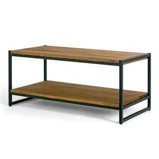 Ailis Brown Pine Wood Black Metal Frame Coffee Table