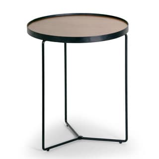 Ailsa Walnut Brown Round Rimmed Wooden Side Table with Black Metal Frame