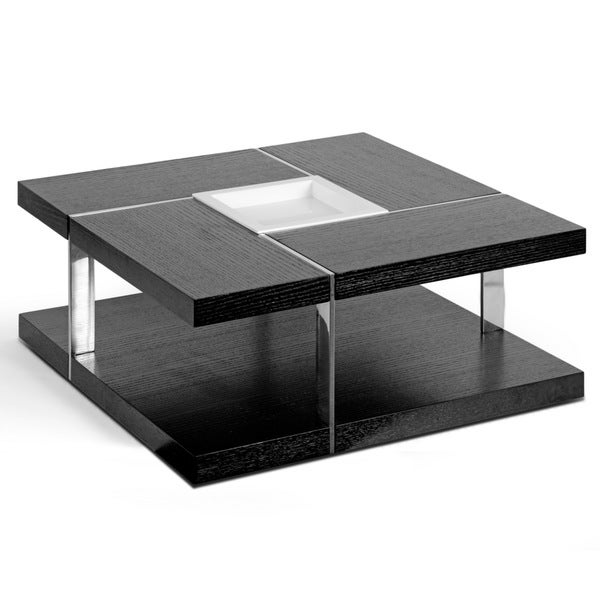 Aira Black Square Coffee Table With Modern White Tray Center And Metal Accent Legs Free