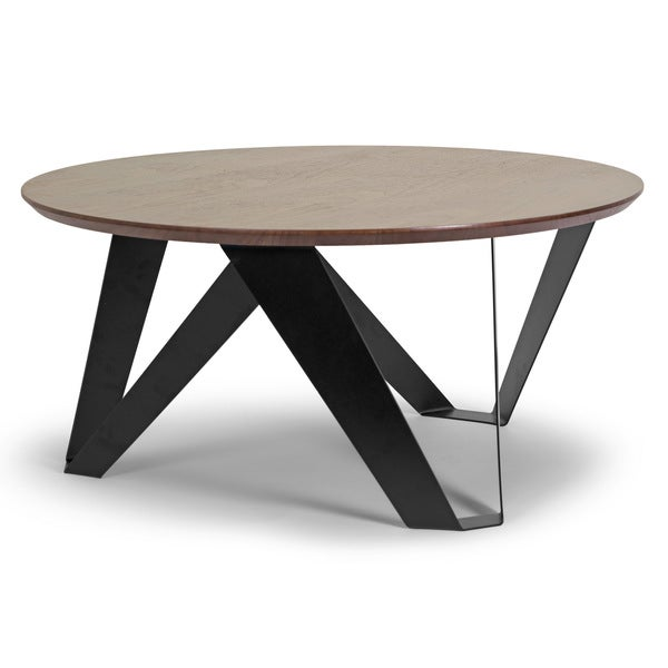 Shop Aimi Walnut Finish Round Modern Coffee Table With