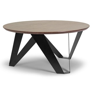 Aimi Walnut Finish Round Modern Coffee Table With Black Metal Legs