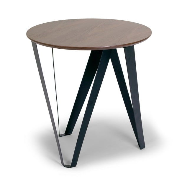 Aimi Walnut-color MDF and Veneer Round Modern Side Table with Black Metal Legs