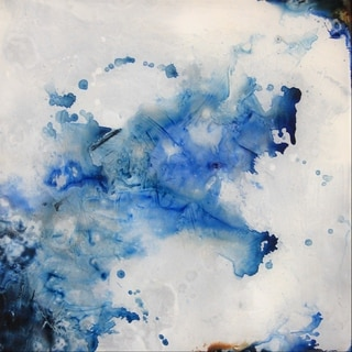 Art In Style Movement Blue Reverse Painted Lucite Art