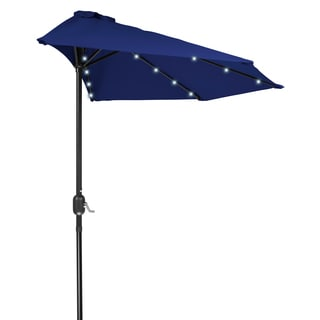 Trademark Innovations Polyester and Steel 9-foot Solar-powered LED Patio Half Umbrella