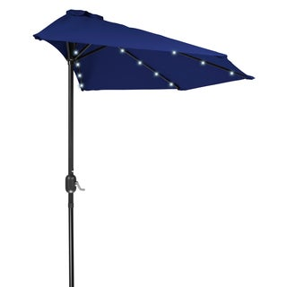 Trademark Innovations Polyester And Steel 9 Foot Solar Powered LED Patio  Half Umbrella