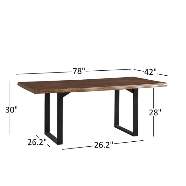 Banyan Live Edge Wood and Metal Sled Base Dining Table by iNSPIRE Q Artisan - N/A