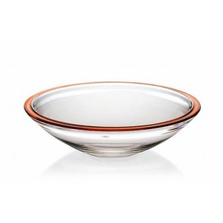 Majestic Gifts Orange Rimmed Quality Glass 13.4-inch Centerpiece Bowl