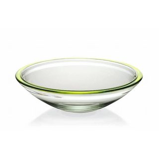 Majestic Gifts Quality Clear Glass Green Rim13.4-inch Centerpiece Bowl