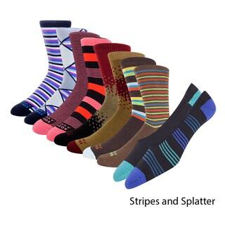 Funky Socks Men's Colorful Assorted Crew Socks (Pack of 12)