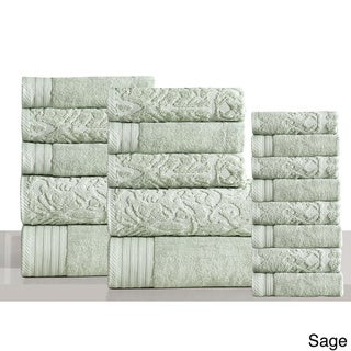 Panache Home Jacquard/Paisley Collection 100-percent Luxurious Cotton 600 GSM 18-piece Towel Set