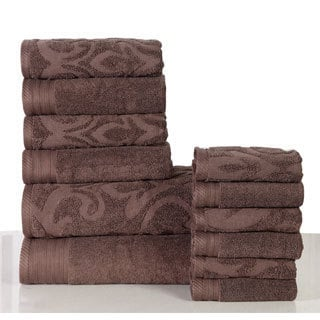 Panache Home Jacquard Collection Luxurious Cotton 12-piece Towel Set