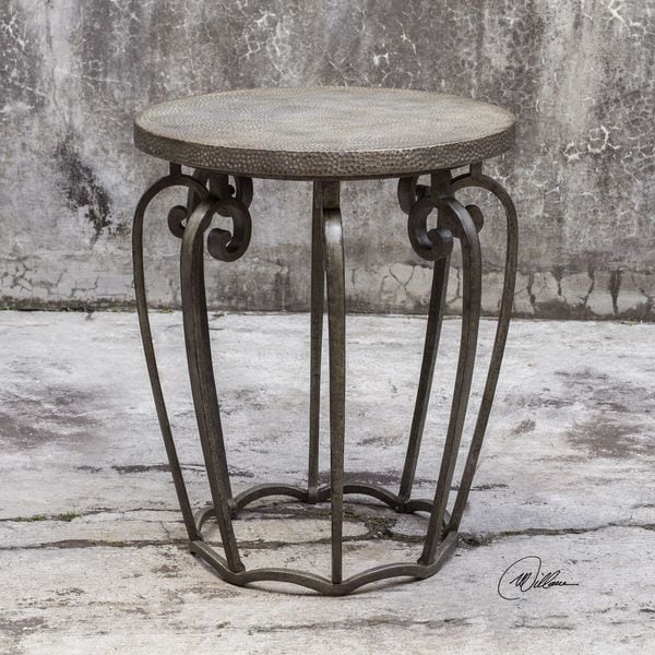 Shop Uttermost Anina Hammered Iron Accent Table Silver