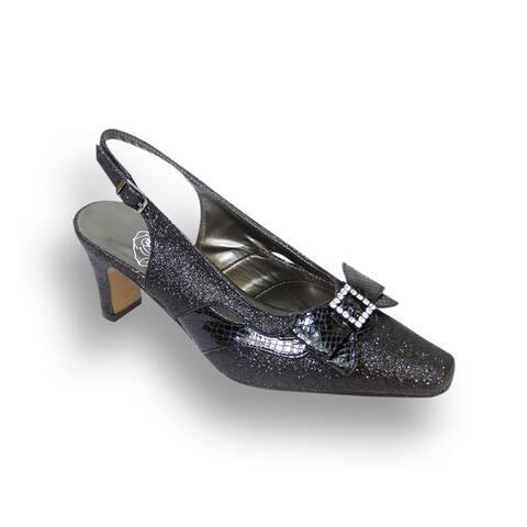 FIC FLORAL Women's Pearl Extra Wide Width Slingback Heels