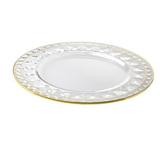 Majestic Gifts Quality Clear Glass 12.6-inch Diameter Charger Plate with Gold Rim (Set of 2)
