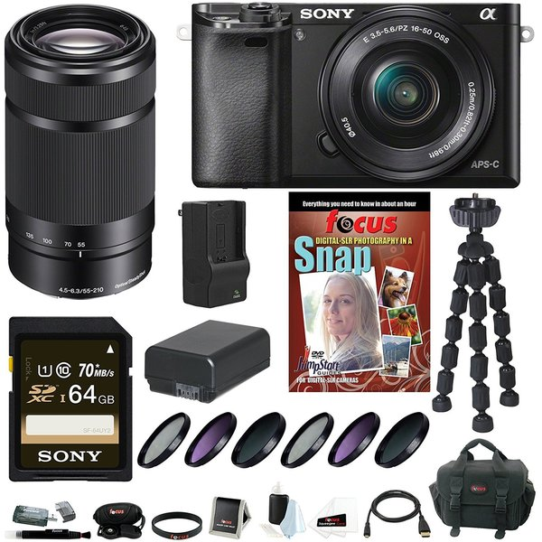 Sony Alpha A6000 Mirrorless Digital Camera with 16-50mm and 55-210mm Lens Bundle and 64GB Kit