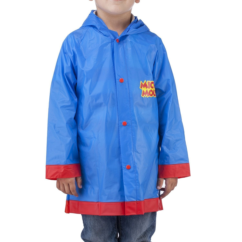 Little Boys Disney Mickey Mouse Rain Coat Jacket Slicker Size Large 6//7