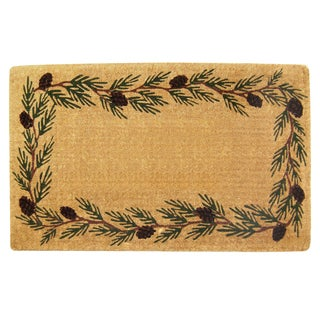 Decorative Evergreen Border Heavy-duty Coir Monogramed Doormat