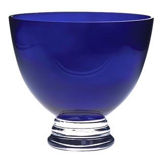 Majestic Gifts Cobalt Quality Glass 9.5-inch Footed Bowl