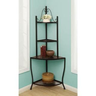 Black/Green/Brown Slate and Metal Corner Stand/Baker's Rack
