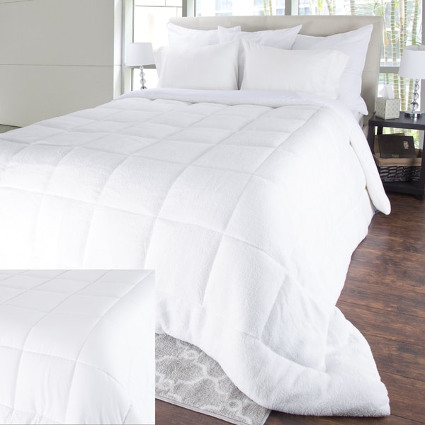"King Size 3/"" Reversible Luxury Down Alternative Sherpa Mattress Topper White New"