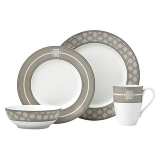 Lenox Neutral Party Knot Grey Porcelain 4-piece Place Setting
