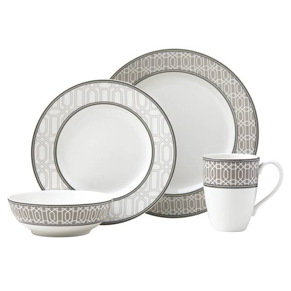 Lenox Neutral Party Link White and Beige Porcelain 4-piece Place Setting