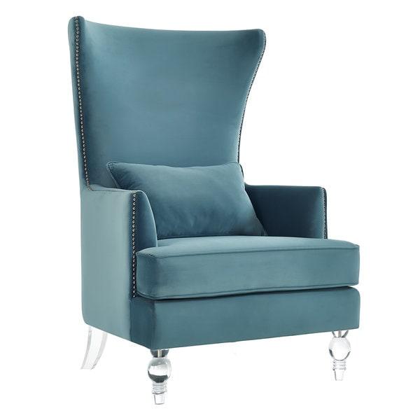 lucite bristol sea blue velvet wingback chair - free shipping