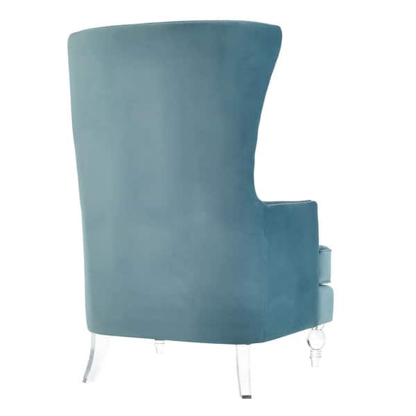 Awe Inspiring Shop Lucite Bristol Sea Blue Velvet Wingback Chair Free Gmtry Best Dining Table And Chair Ideas Images Gmtryco