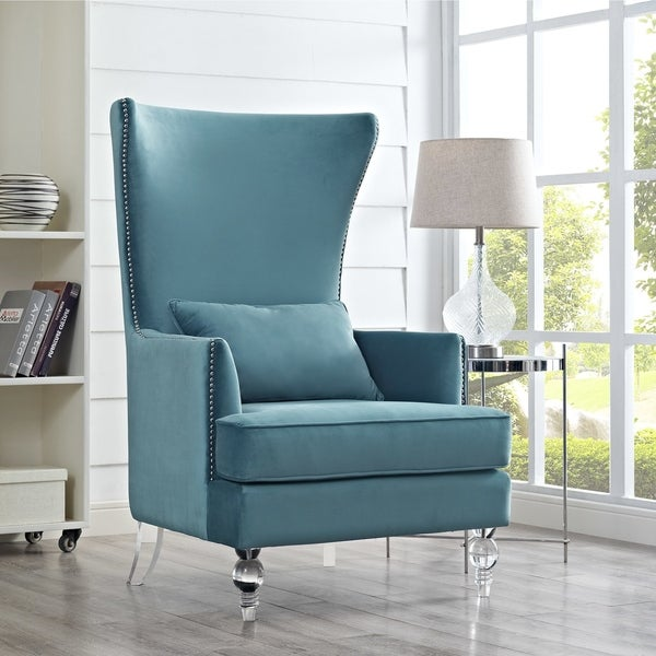 Shop Lucite Bristol Sea Blue Velvet Wingback Chair Free