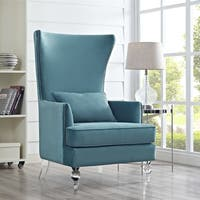 Lucite Bristol Sea Blue Velvet Wingback Chair