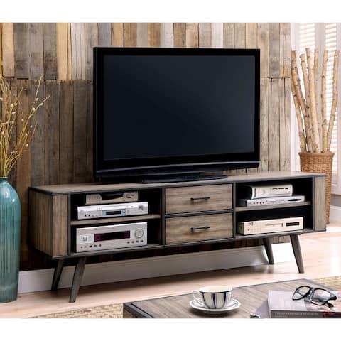 Furniture of America Looc Midcentury Modern Grey 72-inch 4-shelf TV Console