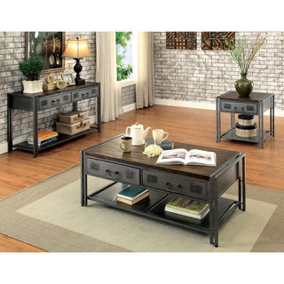 Furniture Of America Starke Industrial Style 3 Piece Grey Silver Metal  Accent Table Set