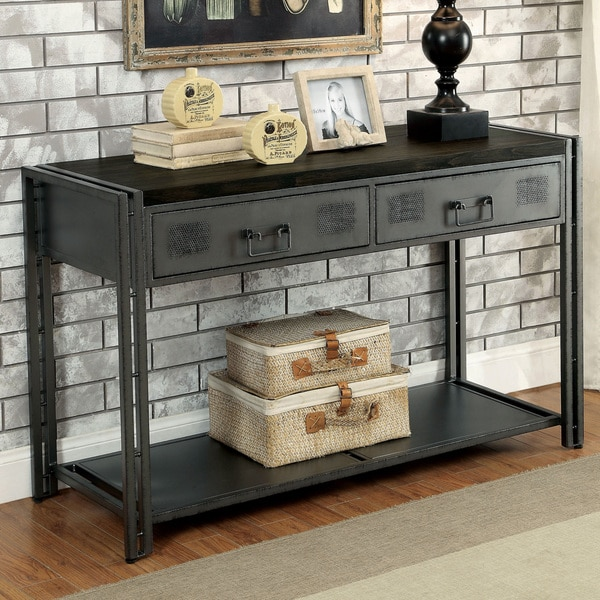 Furniture Of America Starke Industrial Style Grey Silver Metal 2 Drawer Sofa Table Free